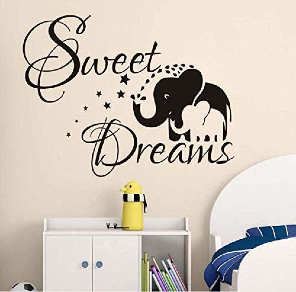 dferh Sweet Dreams Elephant Mom and Her Baby Wall Sticker PVC Vinyl Art Decals DIY Wallpaper for Kids Bedroom Home Decor76X58Cm