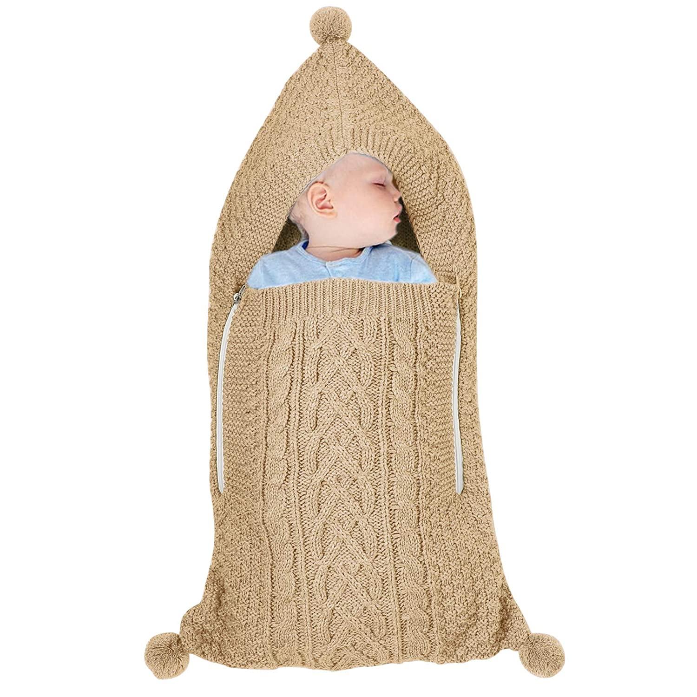 Newborn Baby Knit Sleeping Bag Infant Zipper Stroller Wrap Swaddle Blanket (0-6 Months)