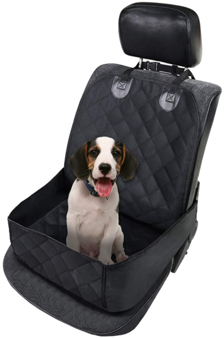 Car Seat Cover for Dogs Waterproof Pet Front Seat Cover Adjustable Dog Travel Hammock with Seat Anchors, Easy Washable, Universal fits All Cars, Pet Cover(Black)-0.Pet Front Seat Cover