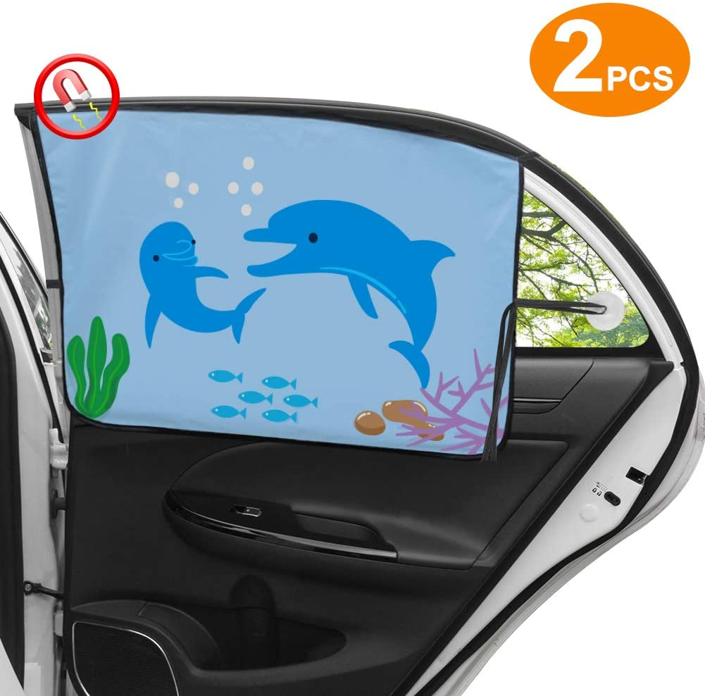 Car Window Shade (2 Pack), Universal Car Side Window Sun Shade Magnetic Curtain for Baby/Kids and Pet, Sun Protection Block from Sun, Glare and UV Rays - Fit for Most of Cars/SUVs