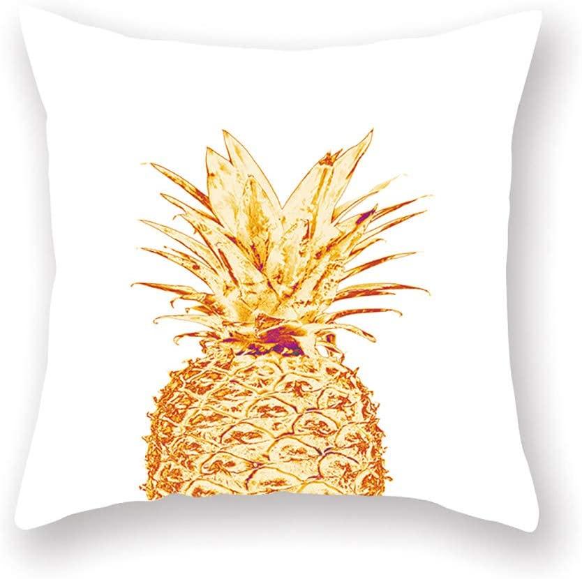 Throw Pillow Covers, Tropical Green Plant Peach Velvet Pillowcase Living Room Sofa Back Cover for Home Office Decor
