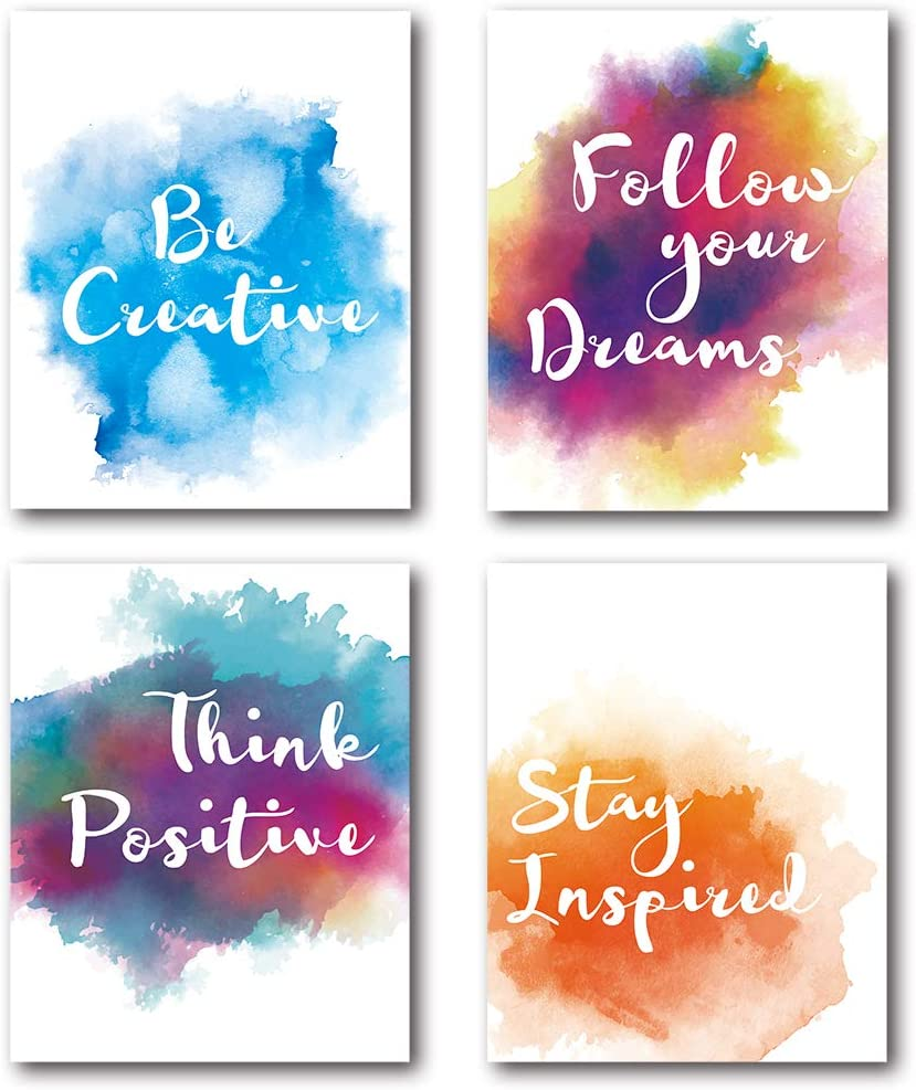 XUWELL Inspirational Quotes Colorful Watercolor Abstract Paint Wall Art Prints, Motivational Gifts for Home Office Living Room Classroom Decor, 8 x 10 Inch Set of 4 Prints, No Frame