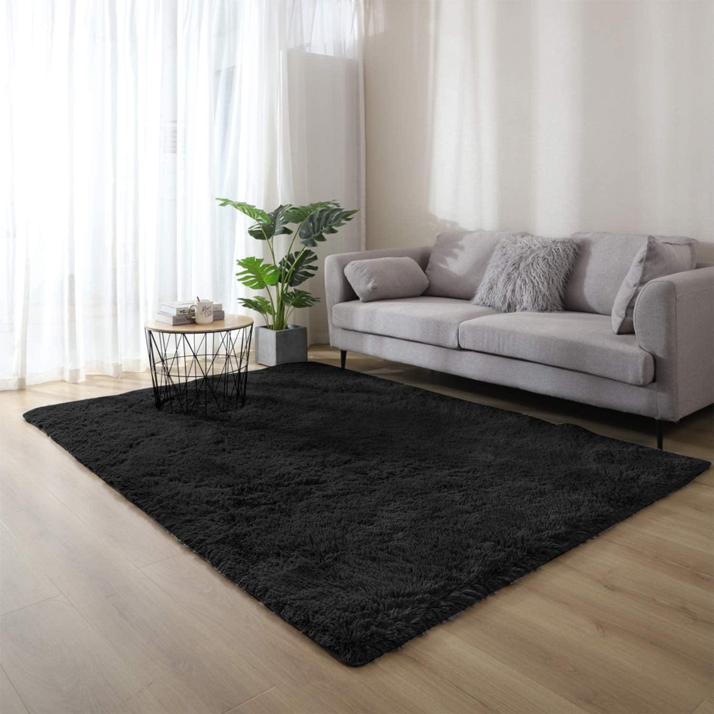WochiTV Ultra Soft Fluffy Modern Area Rug Non-Slip Plush Machine WashableFloor Carpet for Living RoomBedroom Kids Baby Nursery Decor Rug 2x3 Feet, Black