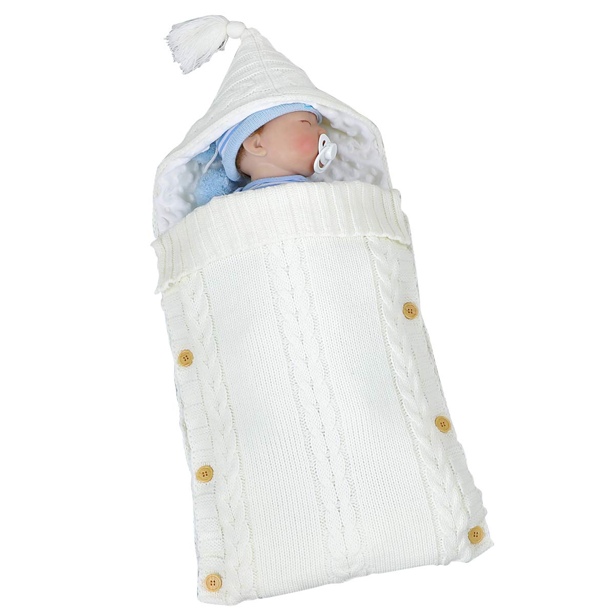Rehomy Newborn Baby Swaddle Blanket, Knitted Warm Baby Sleeping Wrap Bag Minky Dot Sleep Sack Stroller Wrap for 0-6M Babies