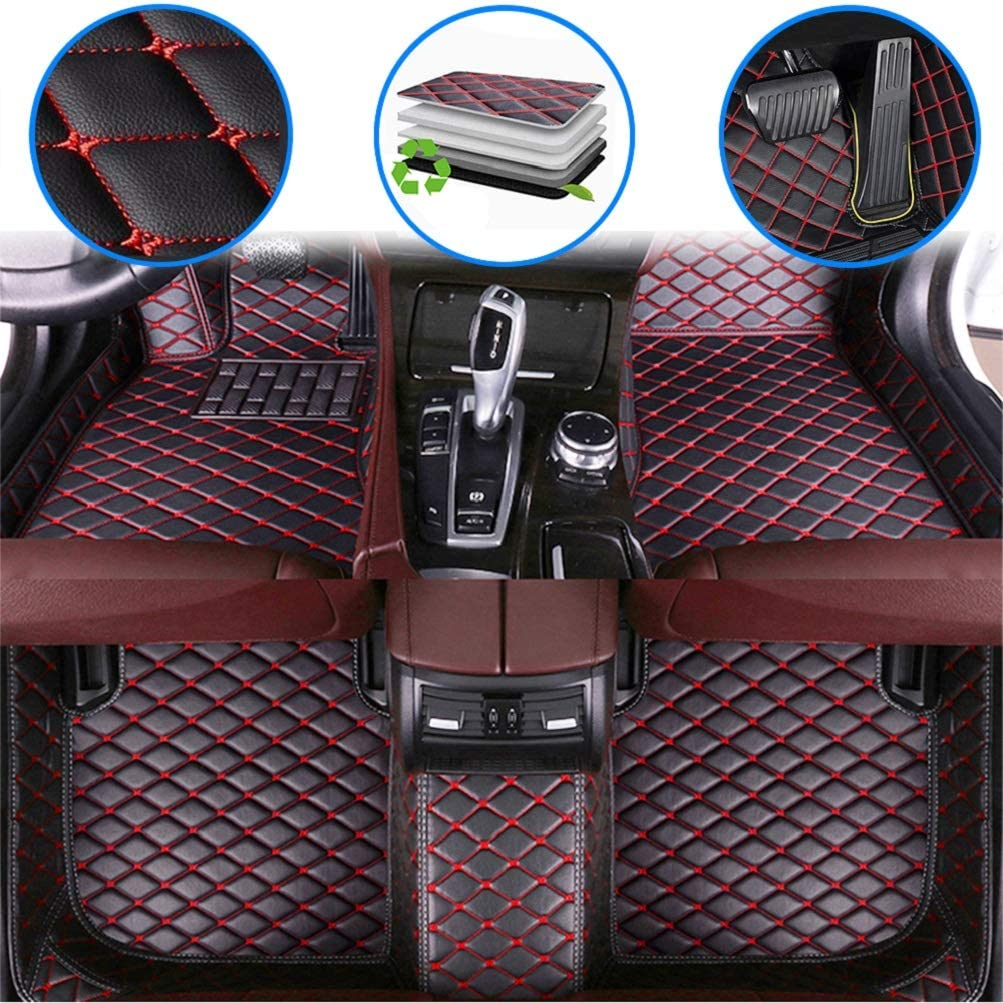 maiqiken Custom Car Floor Mats for Ford Mustang 2010-2019 Luxury Leather Waterproof Anti-Slip Full Coverage Front & Rear Cushion/Set (Black red)