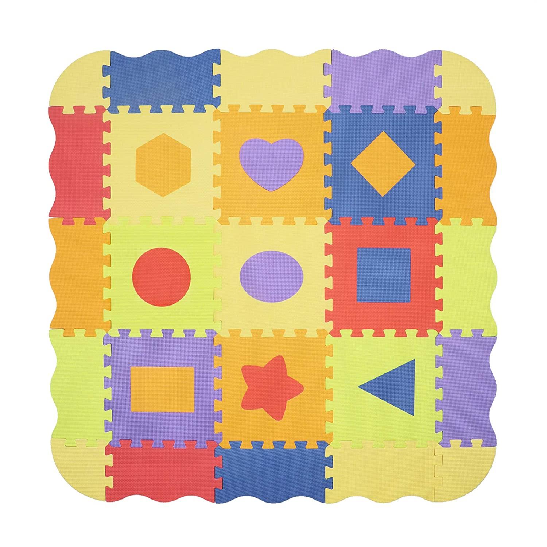 Pauwer Puzzle Floor Mat for Kids Eva Foam Play Mat 25pcs Interlocking Foam Floor Mat Tiles Thick Baby Crawling Mat with Fence Shapes Puzzle Mat Activity Playmat