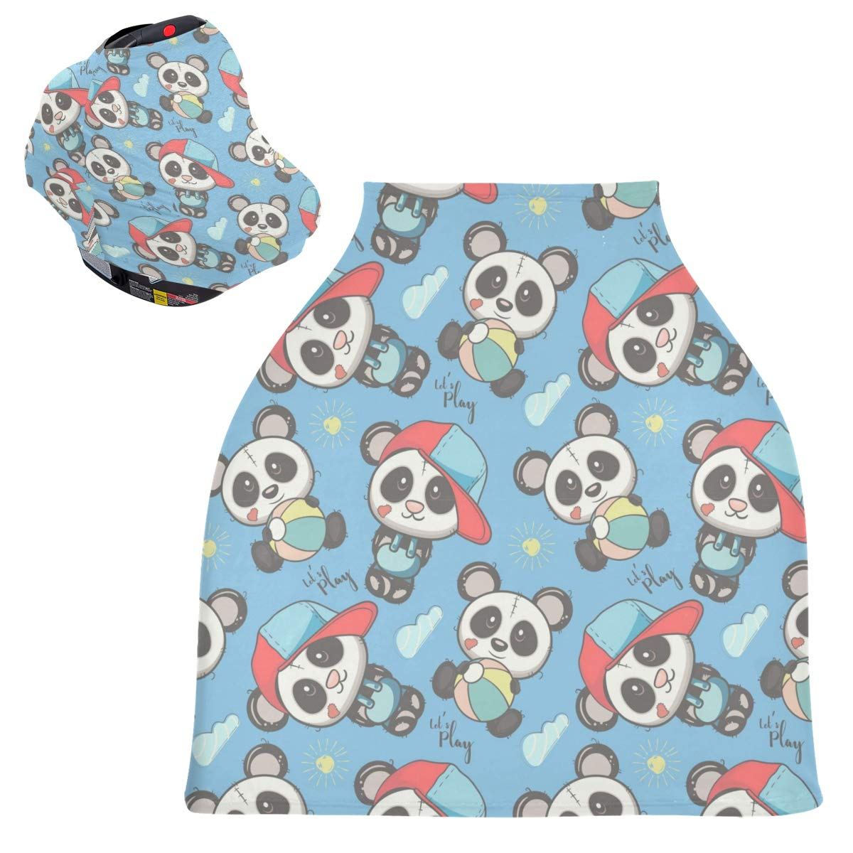 Blue Baby Panda Baby Car Seat Cover Canopy Stretchy Nursing Covers Breathable Windproof Winter Scarf for Infant Breastfeeding Boys Girls