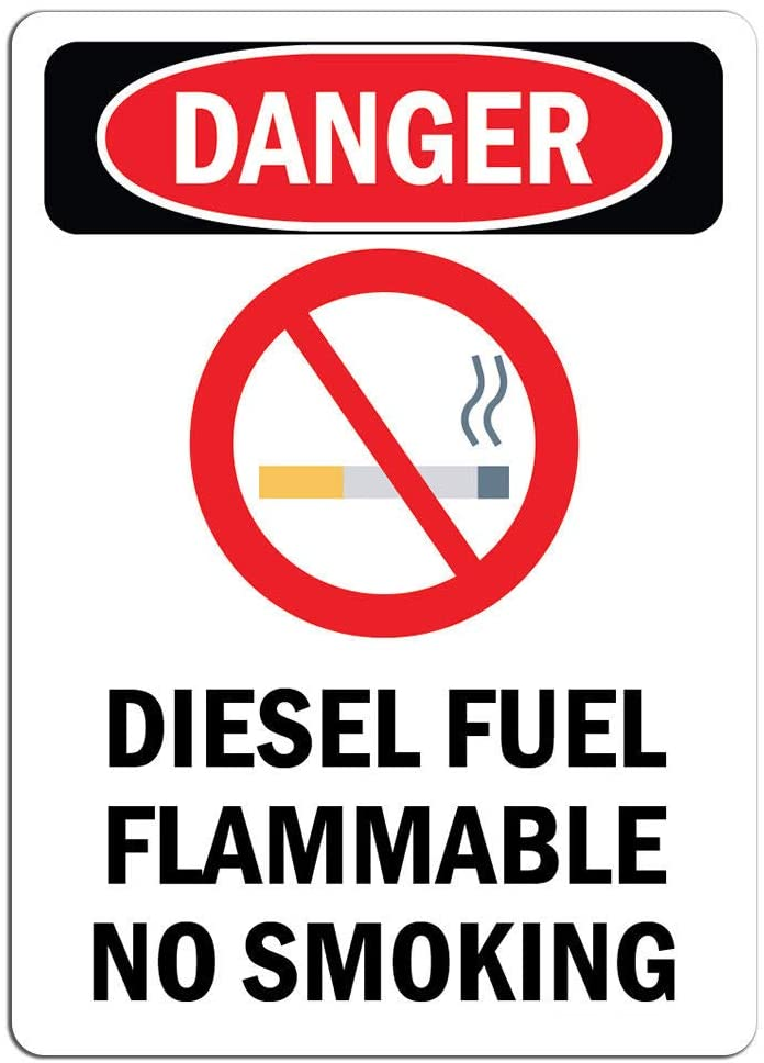 Danger Sign - Diesel Fuel Flammable No Smoking | Label Decal Sticker Retail Store Sign Sticks to Any Surface 8