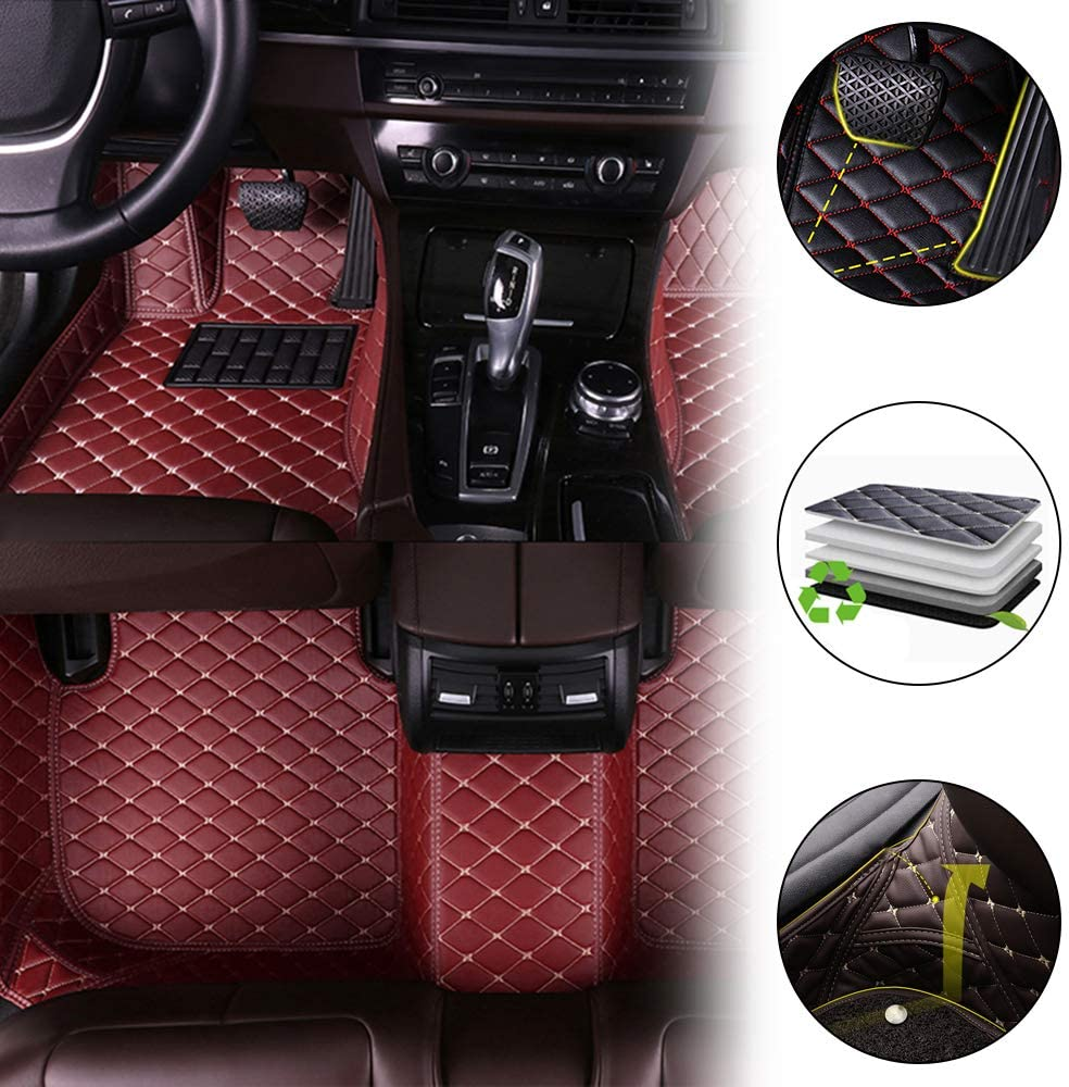 All Weather Custom Fit Floor Mats for Ford Escape 2013-2018 Waterproof Front & Rear Full Set Leather Car Carpets Liner Wine Red 1 Set