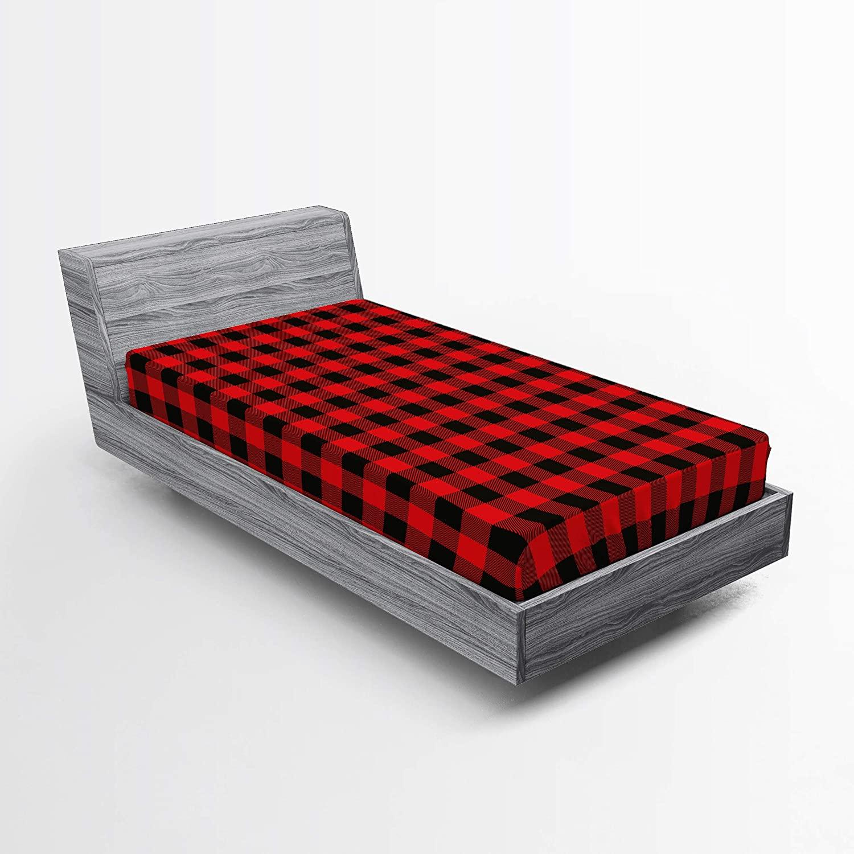 Ambesonne Plaid Fitted Sheet, Lumberjack Fashion Buffalo Checks Pattern Retro Style Grid Composition, Soft Decorative Fabric Bedding All-Round Elastic Pocket, Twin Size, Orange Black
