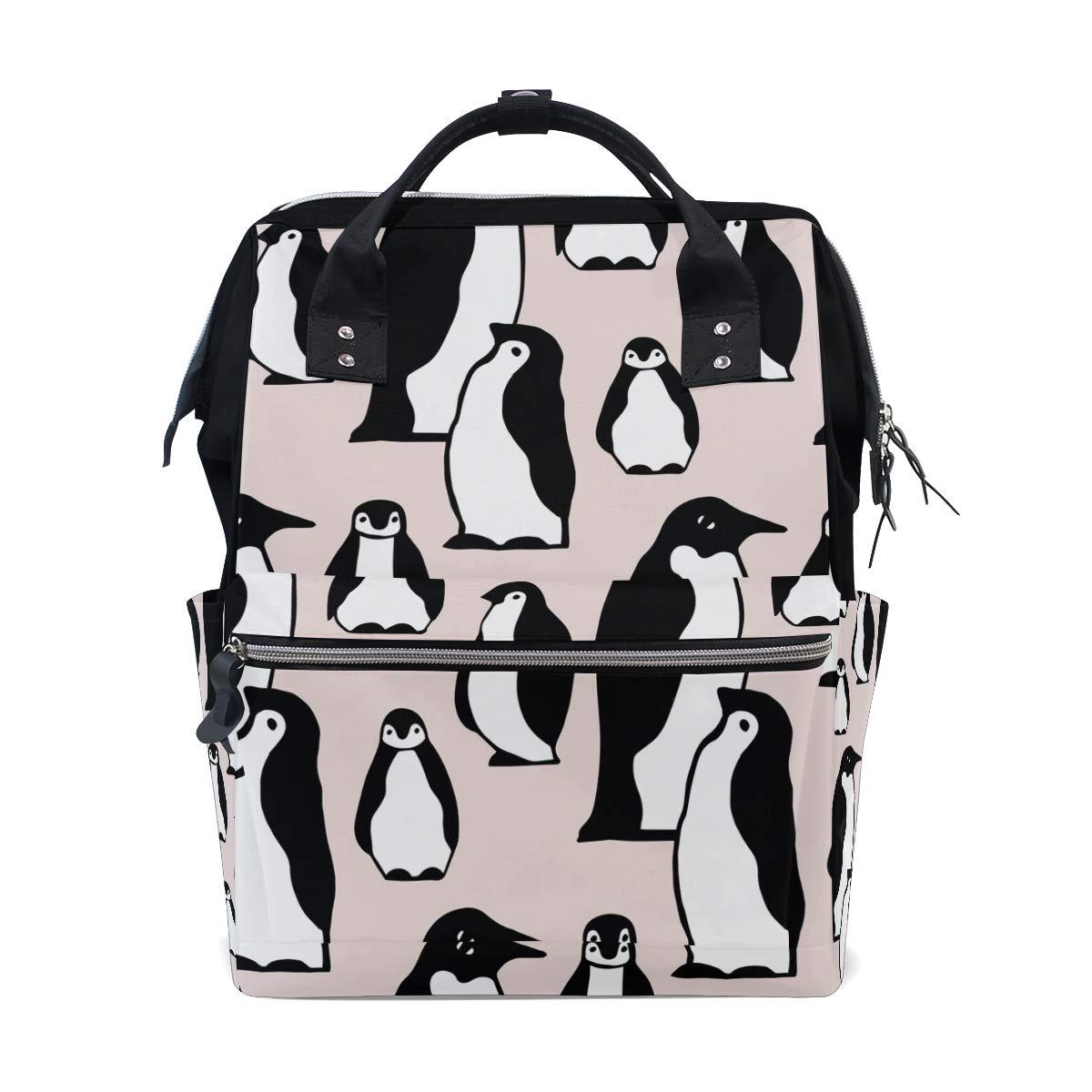 MERRYSUGAR Diaper Bag Backpack Travel Bag Large Multifunction Waterproof Cute Cartoon Penguin Pink Animal Stylish and Durable Nappy Bag for Baby Care School Backpack
