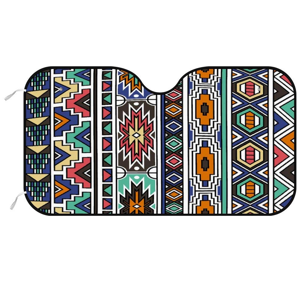 Colorful America Retro Colors Tribal Ndebele Car Windshield Sun Shade,Blocks UV Rays Sun Visor Protector,Sunshade to Keep Your Vehicle Cool and Damage Free,Fits Windshields of Various Sizes