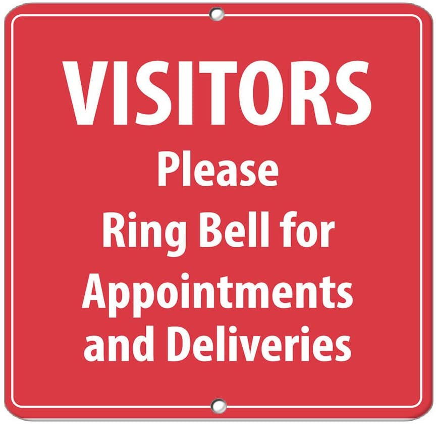 Visitors Please Ring Bell Appointmen?ts Deliveries Label Vinyl Decal Sticker Kit OSHA Safety Label Compliance Signs 8