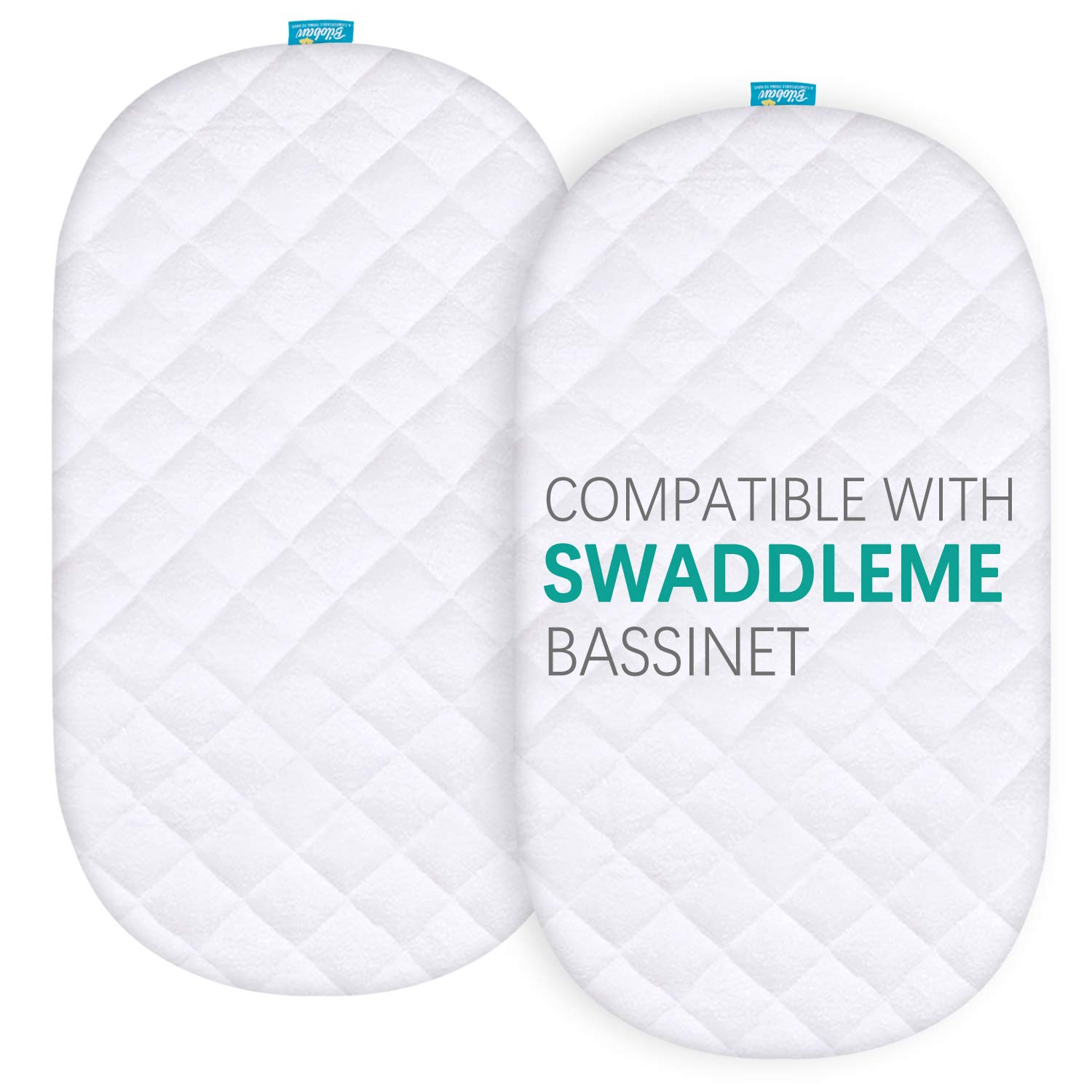 Bassinet Mattress Pad Cover Compatible with SwaddleMe by Your Side Sleeper, 2 Pack, Waterproof Quilted Ultra Soft Bamboo Sleep Surface, Breathable and Easy Care