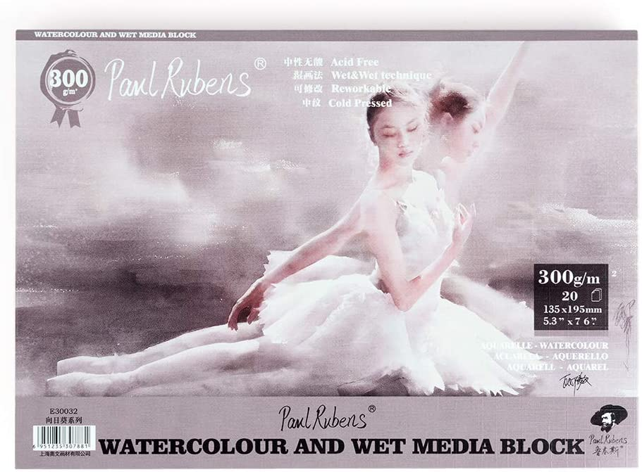 Paul Rubens Watercolor Paper Block Cold Press 7.6 x 5.3 Inches, 20 Sheets, Acid-Free, 50% Cotton Watercolor Paper Pad