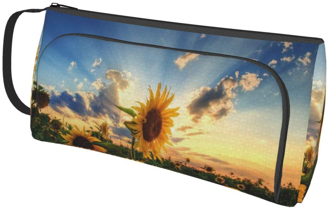 NiYoung Handle Band Pencil Cases Pen Pouch Small Cosmetic Bag (Beautiful Sunrise Sunflower Natural Art)