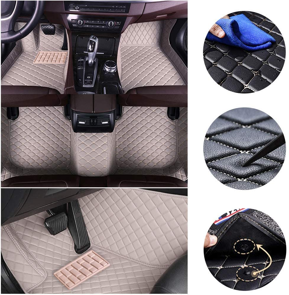 jialaiwo Floor Mats for Toyota Alphard 7seat (First Row mat Split) 2011-2014 All Weather Leather Waterproof Non-Slip Car Carpet Liner Gray