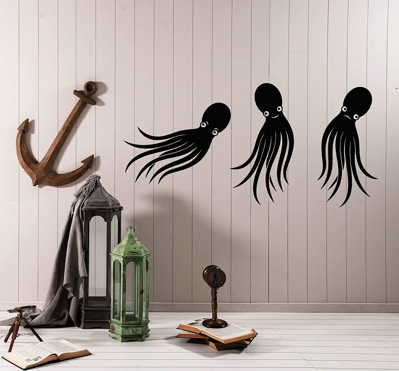 Vinyl Wall Decal Cartoon Little Baby Octopuses Children's Room Decor Stickers (3975ig)
