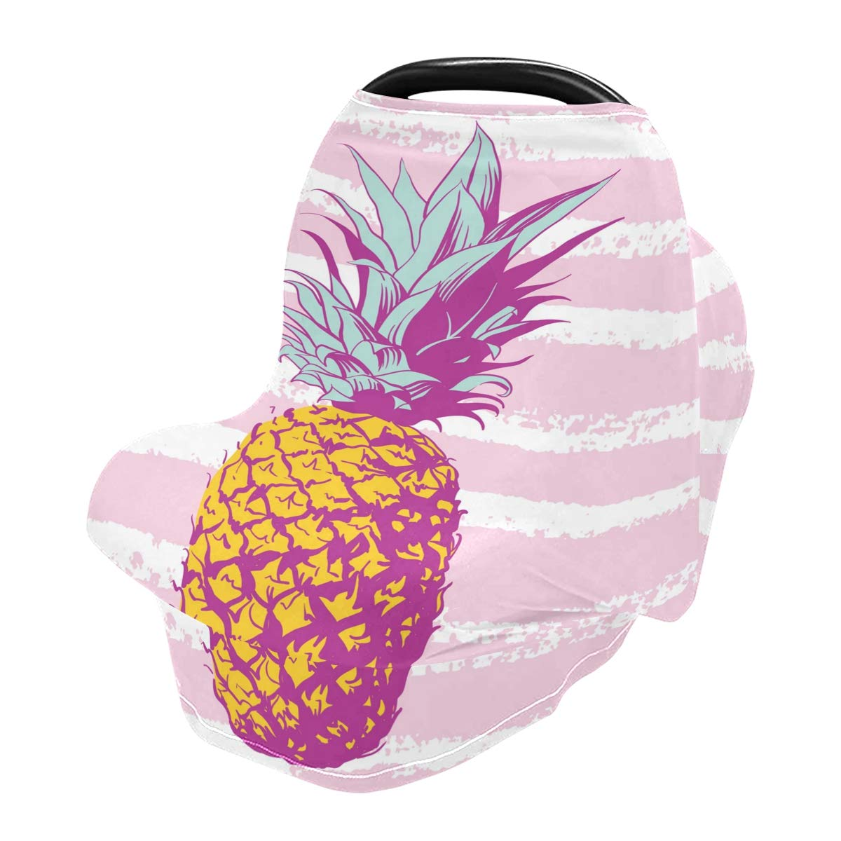 Nursing Cover Stripe Pineapple Breastfeeding Soft Carseat Canopy Multi Use for Baby Car Seat Covers Canopy Shopping Cart Cover Scarf Light Blanket Stroller Cover