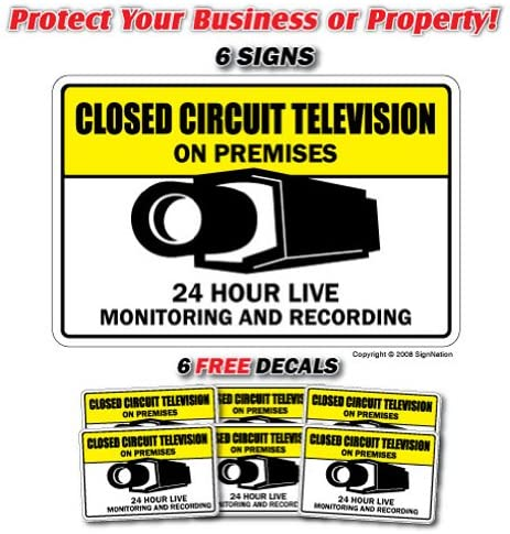 Video Surveillance CCTV 6 Signs & 6 Free Decals Camera Label Decal Sticker Retail Store Sign Sticks to Any Surface 8
