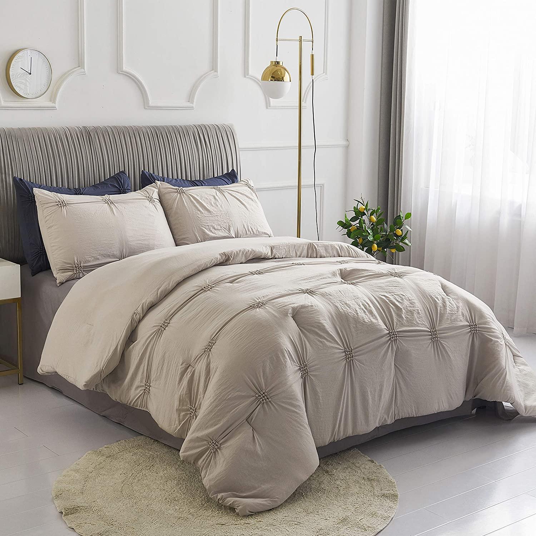 Sleepymoon Bedding Comforter Set (Pinch Pleat Beige, King)