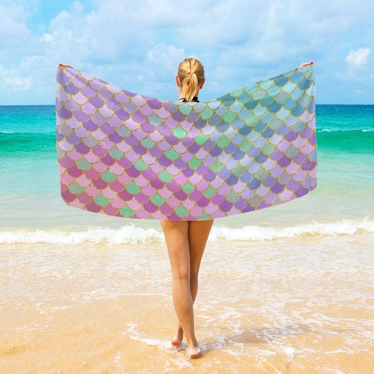 Beautiful Mermaid Fish Scales Art Microfiber Beach Travel Bath Towel Sand Free Proof Swim Towel Quick Fast Drying Beach Blanket Absorbent Shower Body Towels Yoga Mat for Adults 32x52 40x70