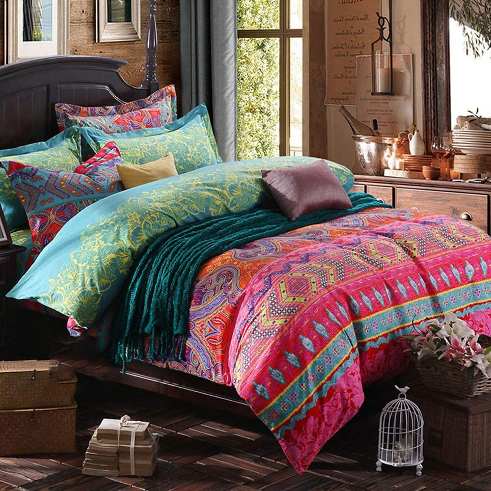Jingzhang 3 Pcs King Duvet Covers, Bohemian Retro Bedding Set, Boho Floral Style Quilt Cover, 100% Ultra Microfiber, 1 Duvet Cover and 2 Pillow Shams