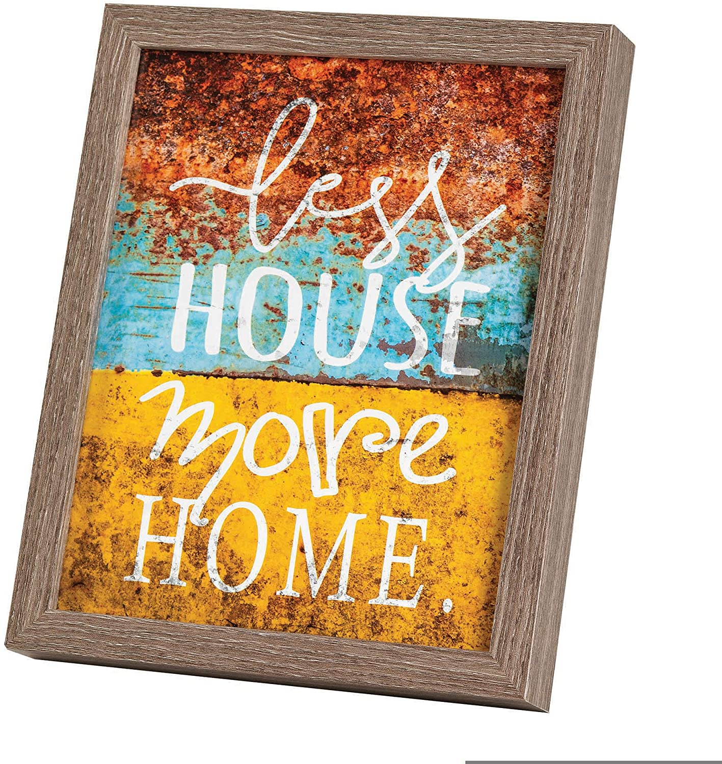 Less House More Home Distressed Orange 11 x 9 Wood Decorative Tabletop or Wall Frame
