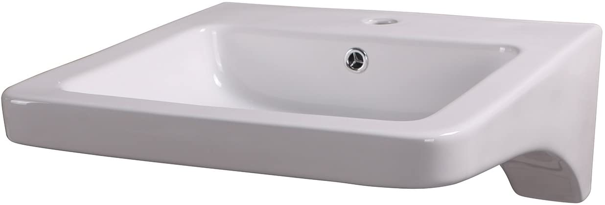 Sliverylake Bathroom Rectangle Porcelain Wall Mount Sink White Ceramic Sink Basin & Chrome Drain Combo