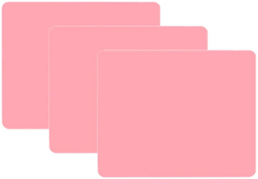 Large Silicone Heat Resistant Nonskid Table Mat,Kids Placemat,Placemat Baby and Toddlers,Silicone Countertop Protector for Kids (19.5''15.5'', pink)(3pack)