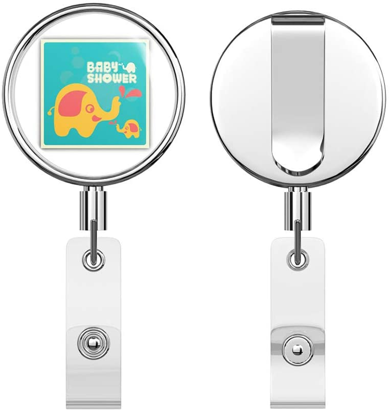 Elephant Baby Shower Retractable Reel Chrome Metal Badge ID Card Holder Clip
