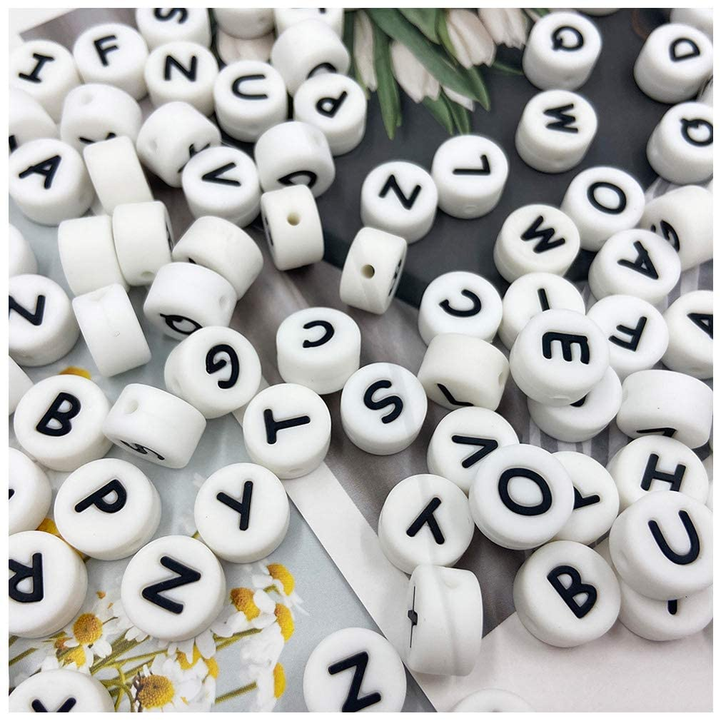 Silicone Round Alphabet 26 Letter Beads DIY Cube 13mm 100pc Silicone Loose Teething Beads…