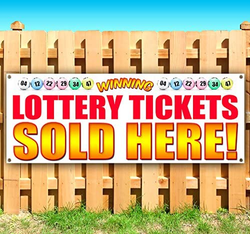 Lottery Tickets Sold HERE 13 oz Heavy Duty Vinyl Banner Sign with Metal Grommets, New, Store, Advertising, Flag, (Many Sizes Available)