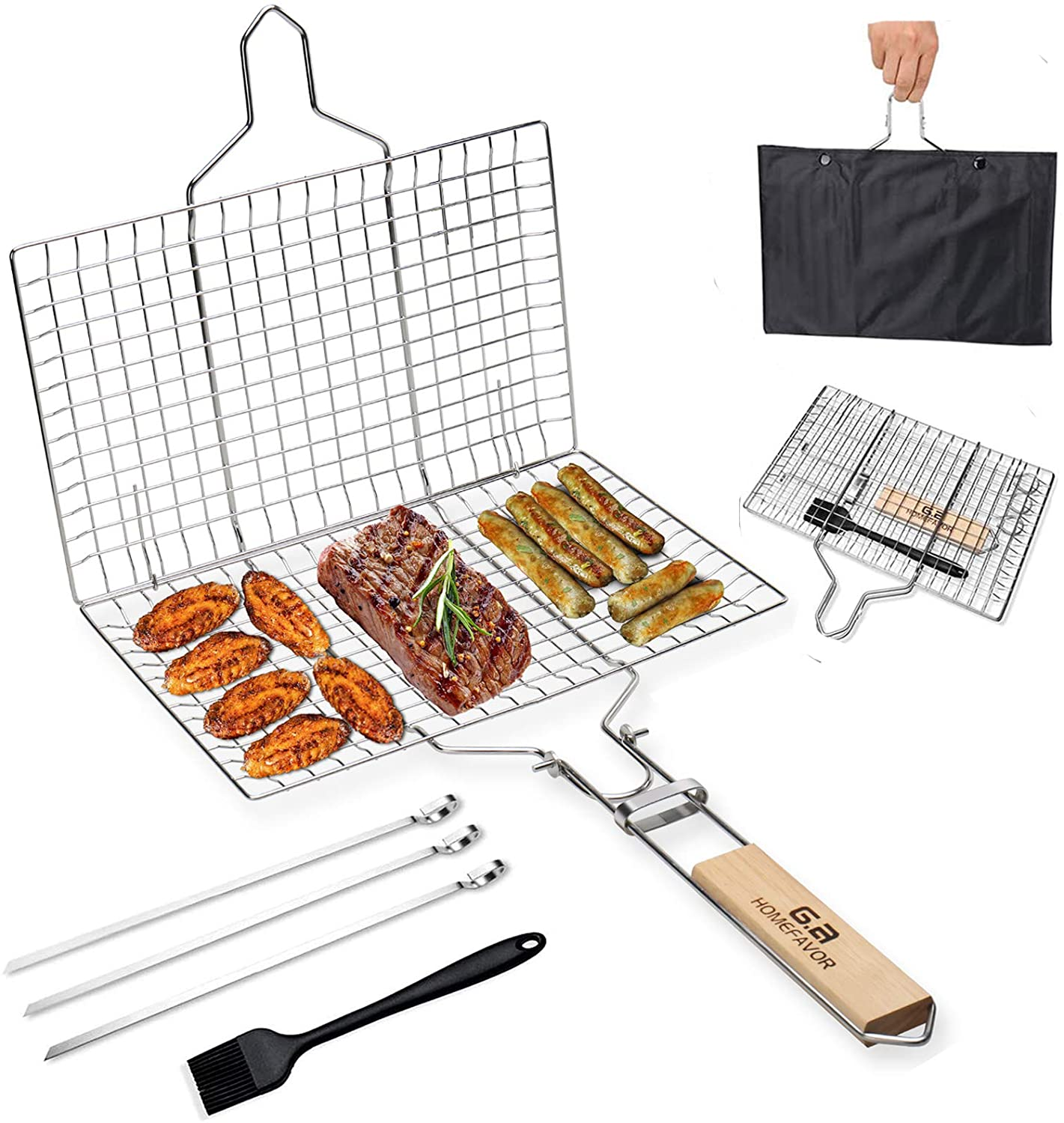 G.a HOMEFAVOR BBQ Fish Grill Basket Food Grade 18/8 304 Stainless Steel, Folding Portable Oak Handle, for Grilling Fish Vegetables Shrimp Meat Steak (Silicone Brush+Pouch+3x12.5 Skewers)