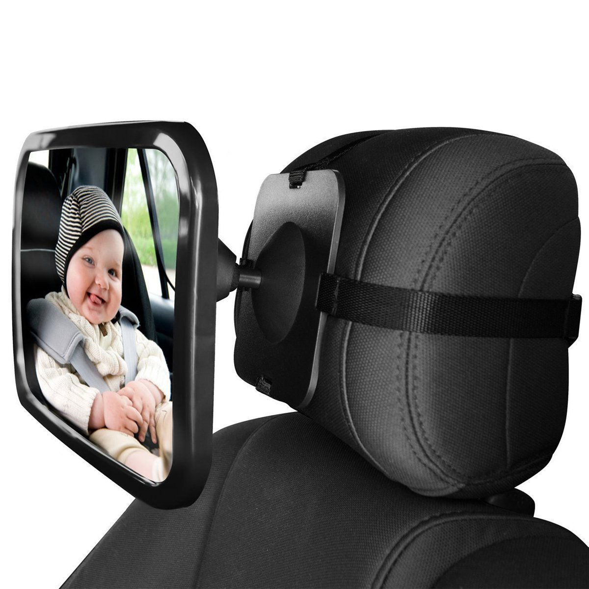 SONARIN Premium Quality Baby Car Mirror,100% Shatterproof,Fits Any Adjustable headrest,Adjustable Straps,Clear View of Infant in Rear Facing Car Seat,Secure,360° Rotation(Black)