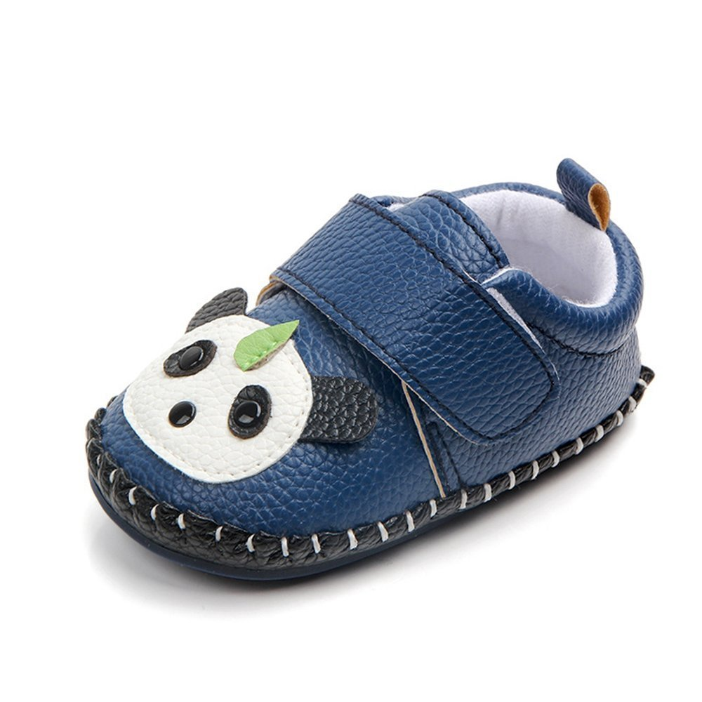 Lidiano Baby Non Slip Rubber Sole Cartoon Walking Slippers Crib Shoes Infant/Toddler (18-24 Months, Blue Panda)