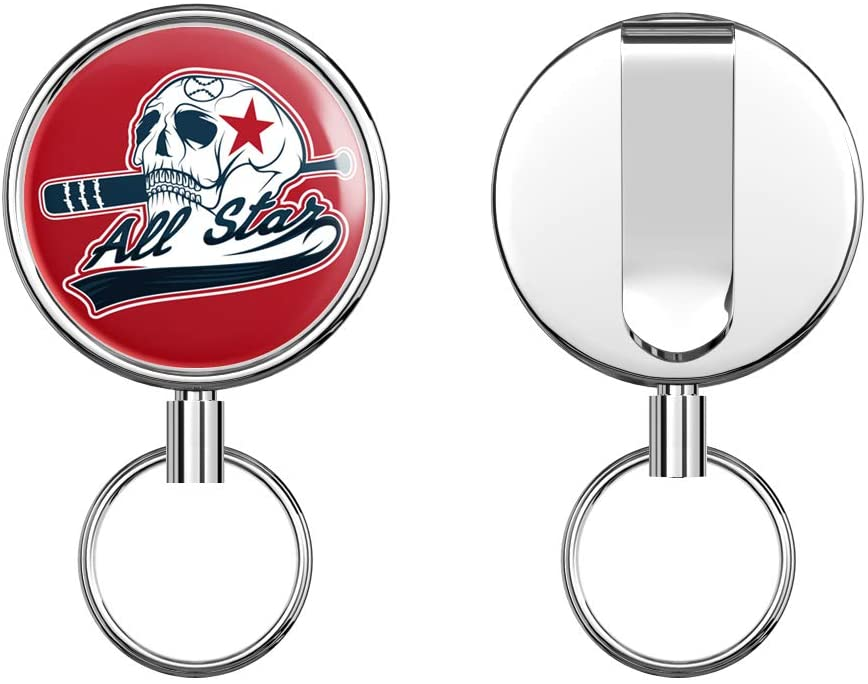 All Star Baseball Skull Sport Retractable Badge Holder Reel Metal ID Badge Holder with Belt Clip Key Ring for Name Card Keychain