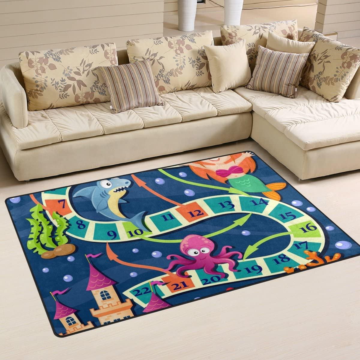 WellLee Area Rug,Board Game Mermaid Sea Animals Floor Rug Non-Slip Doormat for Living Dining Dorm Room Bedroom Decor 31x20 Inch