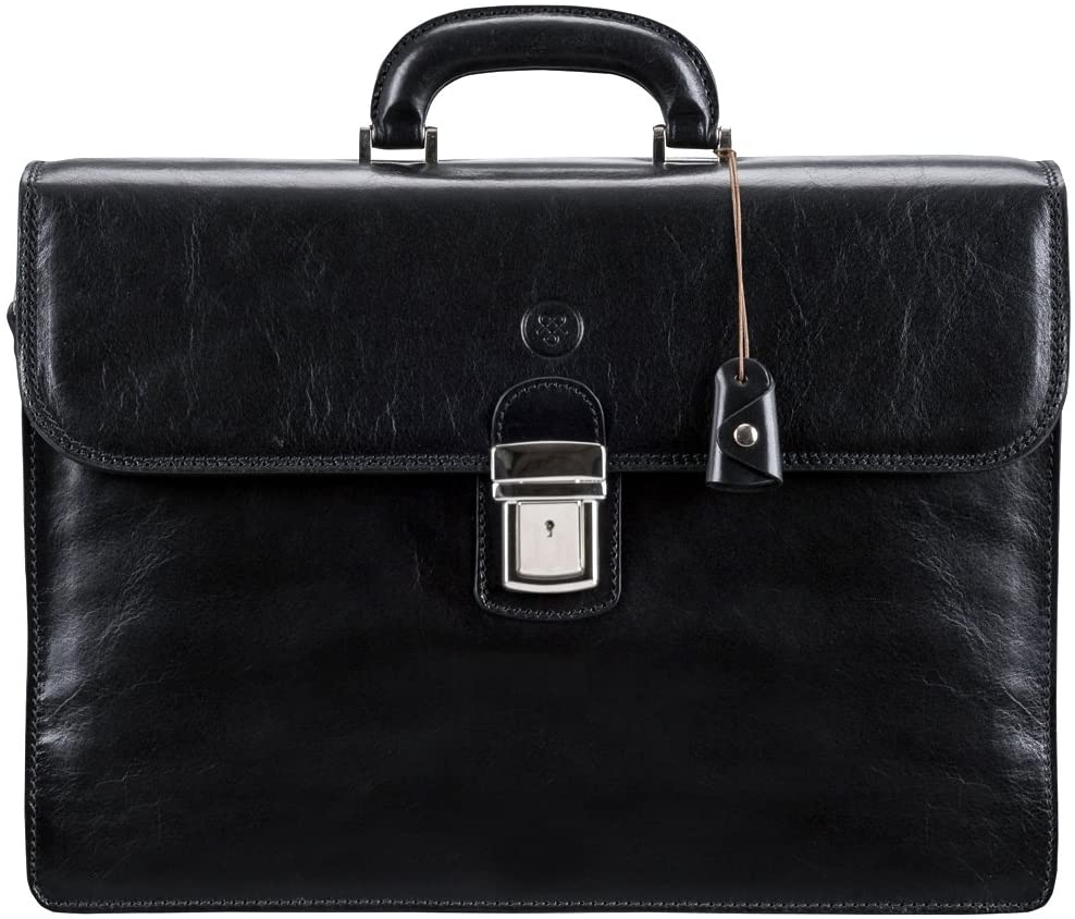 Maxwell Scott Men's Italian Leather Large Briefcase - Paolo3 Black