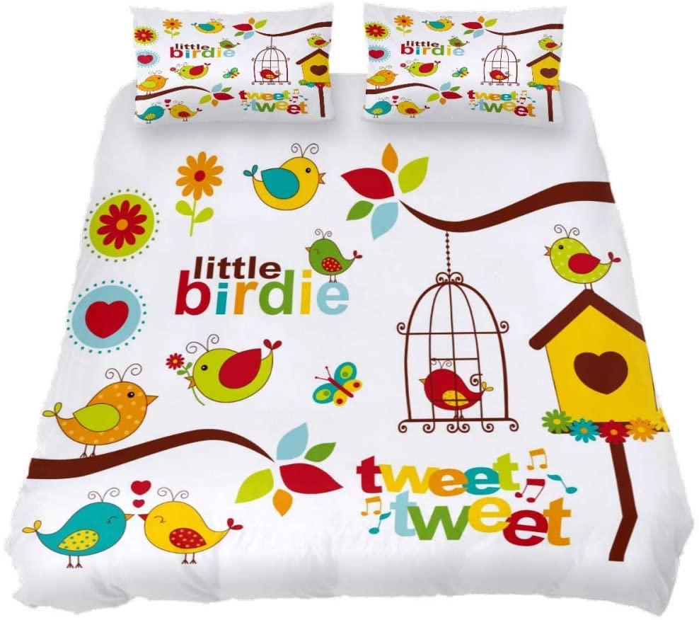 Bird Butterfly Print Duvet Cover 3 Pieces Kids Bedroom Comforter Quilt Sheet Cover Queen Bedding Sets with Zipper,Black