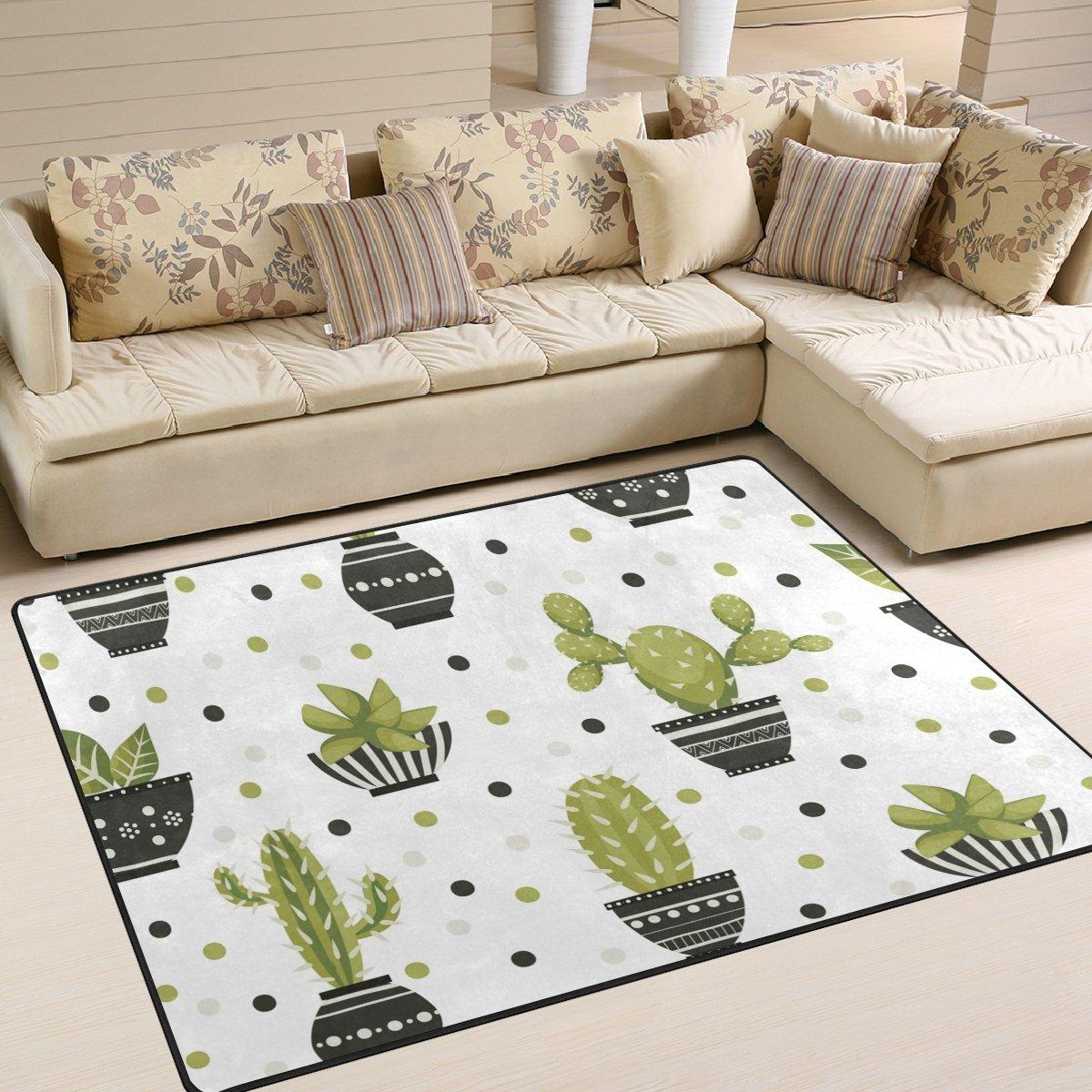 YZGO Cacti Flowerpots Polka Dots Pattern Kids Area Rug, Non-Slip Floor Mat Soft Resting Area Doormats for Living Dining Bedroom 5.3' x 4'