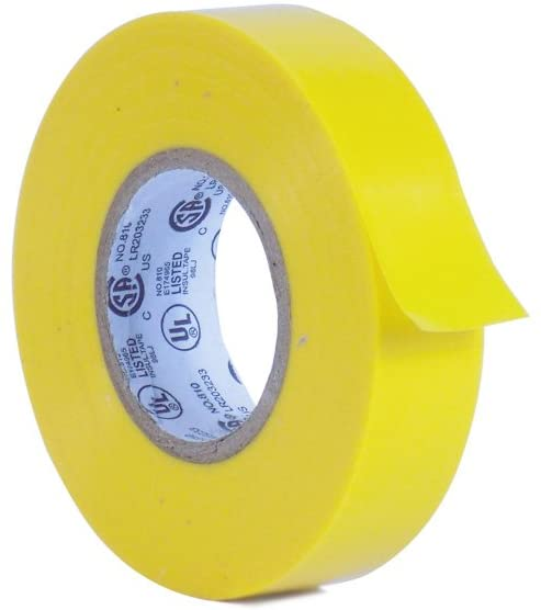 MAT Professional Grade Electrical Tape Yellow - 3/4in. X 66ft. (1-ROLL) - Waterproof, Flame Retardant, Strong Rubber Based Adhesive for Use At No More Than 600V & 176F