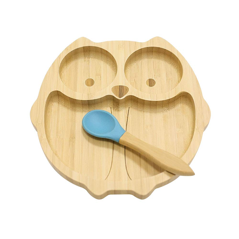 Homevibes Owl Bamboo Baby Suction Plate and Spoon Set,Upgrade Silicone & Natural Bamboo Toddler Feeding Training Plate with 7 Colors (Blue)