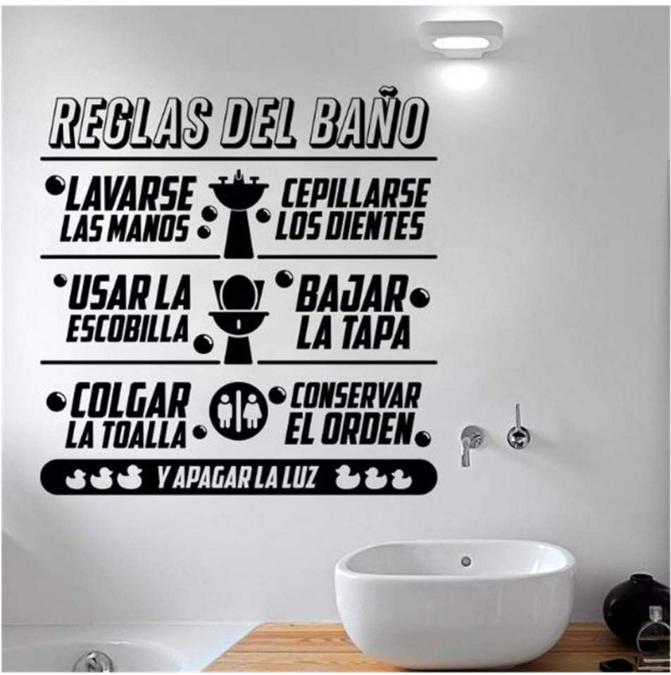 vbjtrx Art Design Bathroom Rules in Spanish Kids Wall Sticker Home Decor Vinyl Toilte Wall Decals Family S for Bathroom40X41Cm