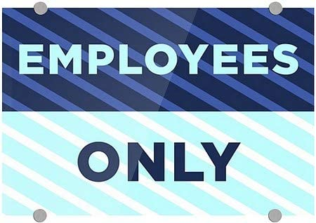 CGSignLab |Employees Only -Stripes Blue Premium Acrylic Sign | 18x12