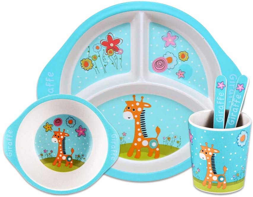 5 Piece Kids Dinnerware Set With Plate Bowl Cup Spoon Fork Natural Bamboo Fiber BPA Free Dishwasher Safe (Baby giraffe)