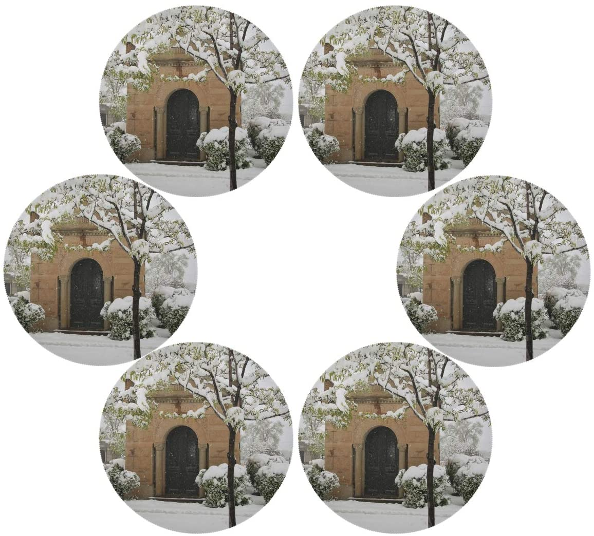 senya Winter Landscape(2) Round Place mats for Kitchen Dining Table Runner Heat Insulation Non-Slip Washable Fall Placemats Set of 6