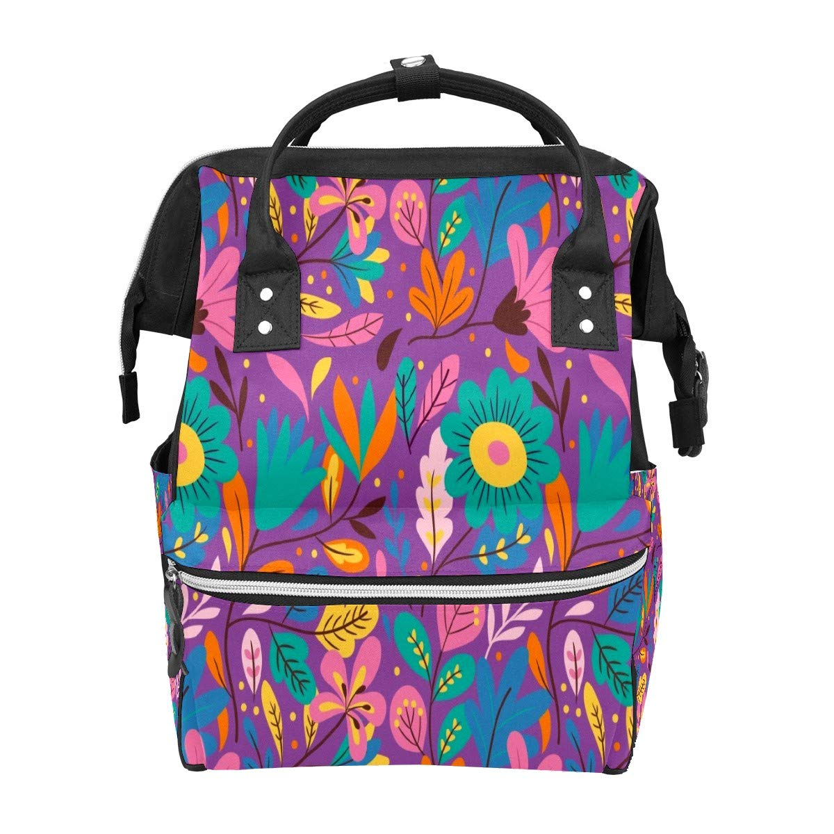 Diaper Bag Backpack Colorful Exotic Floral Multifunction Travel Back Pack Baby Changing Bags Large Capacity Waterproof Stylish