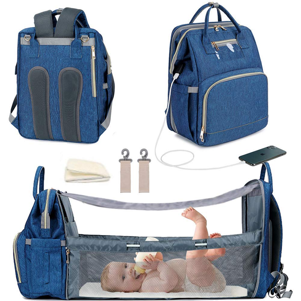 2020 Upgraded 3 in 1 Travel Bassinet Foldable Baby Bed, Diaper Bag Backpack Changing Station, Waterproof, USB Charging Port,Travel Crib Infant Sleeper,Baby Nest with Mattress Included