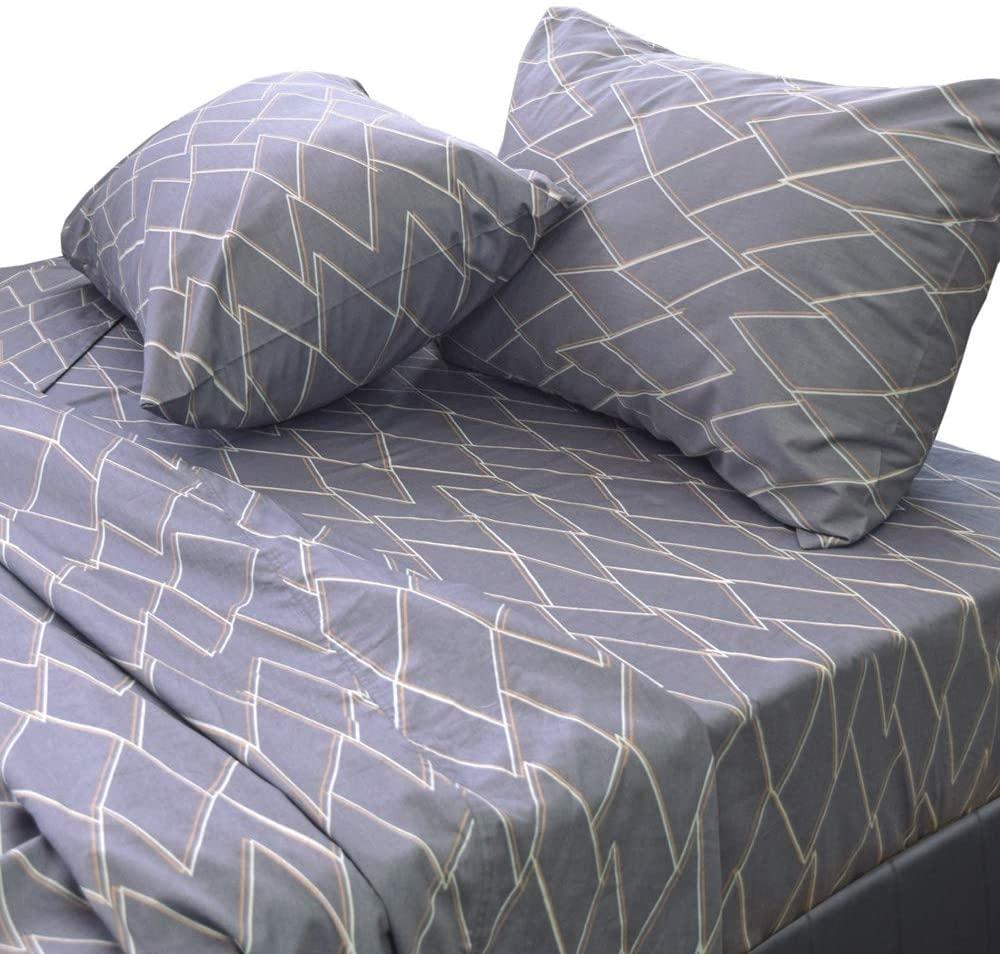 Essina Queen Bed Sheet Set 4pc Kensington Collection, Cotton 620 Thread Count, Deep Pocket Queen Sheet, Lois